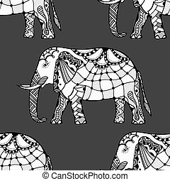 Ethnic ornate seamless pattern with hand drawn elephants and...