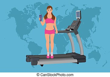 fitness woman standing of treadmill