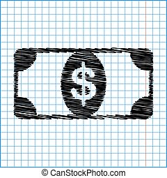 Bank Note dollar sign. Flat style icon with scribble effect...