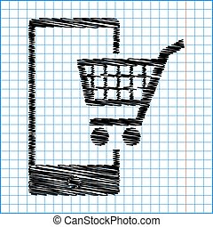 Shoping on smart phone sign. Flat style icon with scribble...