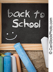 Slate with colorful crayon, back to school - Slate with text...