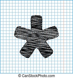 Asterisk star sign. Flat style icon with scribble effect on...