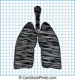 Human organs. Lungs sign. Flat style icon with scribble...