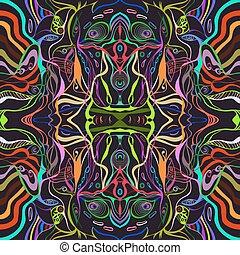 coloridos, Vívido, vetorial, de, Um, jovem, mulher, rosto,...