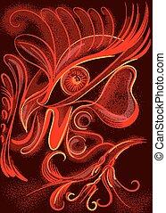 coloridos, Vívido, galo, em, abstratos, estilo,...