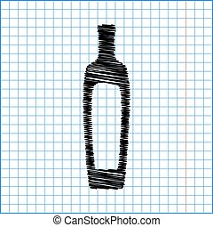 Olive oil bottle sign. Flat style icon with scribble effect...