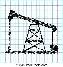 Oil drilling rig sign. Flat style icon with scribble effect...
