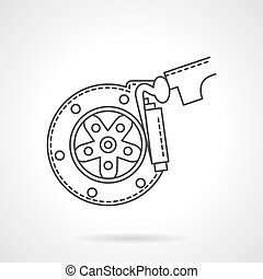Brake pads flat line vector icon - Automobile braking...