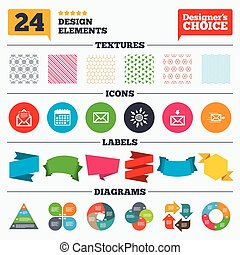 Mail envelope icons Message document symbols - Banner tags,...