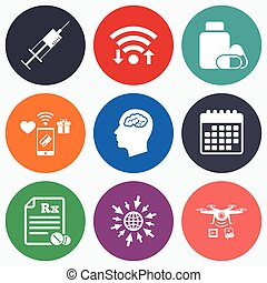 Medicine icons Tablets bottle, brain, Rx - Wifi, mobile...