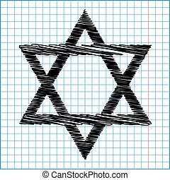 Star. Shield Magen David. Symbol of Israel with scribble...