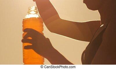 close-up, mulher, saudável, atleta, bebida, jovem, esportes,...
