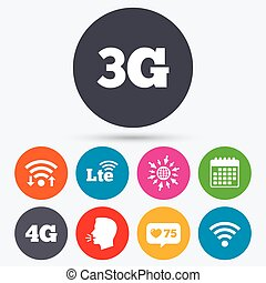 Mobile telecommunications icons 3G, 4G and LTE - Wifi, like...