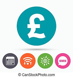 Pound sign icon GBP currency symbol - Wifi, Sms and calendar...