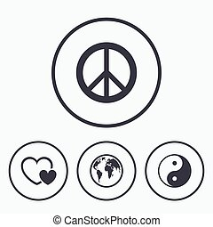World globe icon Ying yang sign Hearts love - World globe...