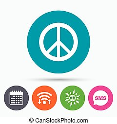 Peace sign icon Hope symbol - Wifi, Sms and calendar icons...