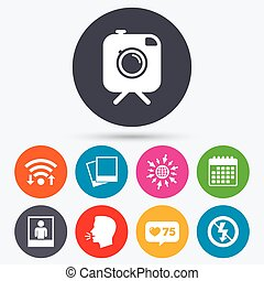 Photo camera icon No flash light sign - Wifi, like counter...