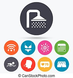 Swimming pool icons Shower and swimwear signs - Wifi, like...