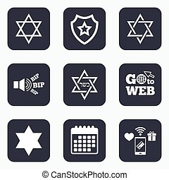 Star of David icons Symbol of Israel - Mobile payments, wifi...
