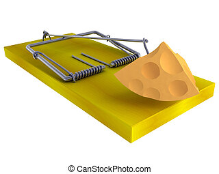 mousetrap - Trap a mousetrap with a piece of cheese isolated...
