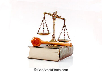 Law and order concept - Decorative Scales of Justice and...