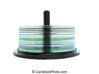 CD Spindle - A CD Spindle filled with CDs isolated on a...