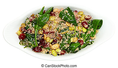 Quinoa Spinach Cranberry Salad Isolated