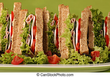 Sandwiches - Healthy sandwiches with ham, camembert,...