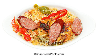 Cajun Jambalaya Voodoo Chicken and Sausage in Bowl - Cajun...