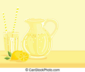 lemonade - hand drawn vector illustration of a jug of...