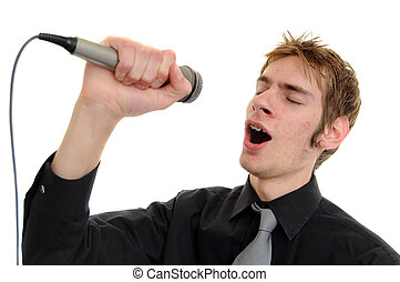 Karaoke Singer - Young man sings into a karaoke microphone...