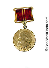 Medal with Lenin - the old Soviet medal, which depicts Lenin...