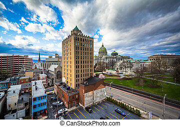 View of buildings and the Pennsylvania State Capitol Complex...
