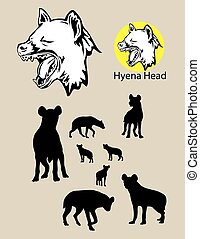Hyena Silhouette and Logo, art vector design