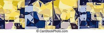 blue yellow pink abstract painting