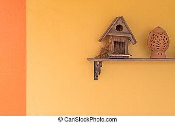 urraca, Robin, pájaro, Construya, Arriba, su, nido,...
