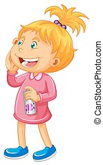Girl in pink with spray bottle