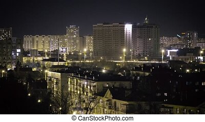 Industrial city at night - Video of the night city,...