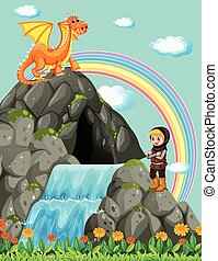 Knight and dragon at the waterfall illustration