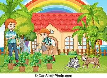 Dad and son watering plants in garden