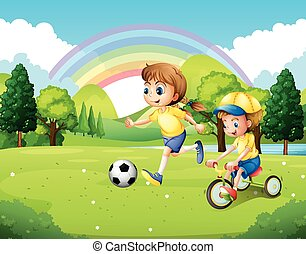 Boy and girl exercising in the park