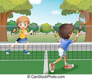 Boy and girl playing tennis in the park
