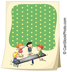 Paper design with children playing seesaw illustration