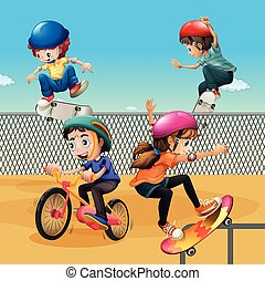 Children riding bike and skateboarding