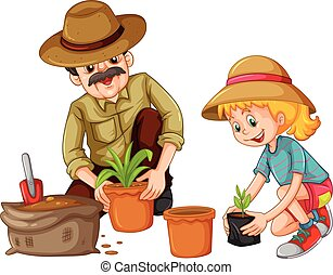 Grandfather and kid planting trees