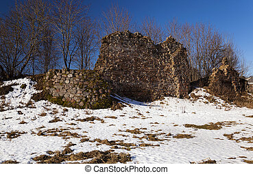 ruins, Belarus , Winter - the ruins of the ancient ramparts...
