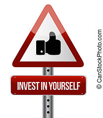 invest in yourself like sign message illustration design...