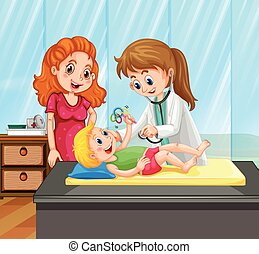 Female doctor give little boy treatment illustration