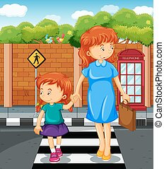 Mother and girl crossing the road illustration