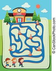 Game template with children going to school illustration